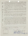 Autographs:Others, 1958-59 Roberto Clemente Signed Puerto Rican Winter League Contract....