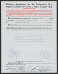Baseball Collectibles:Others, 1940 Eddie Collins Signed Player's Contract. ...