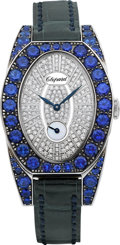 Timepieces:Wristwatch, Chopard Haute Joaillerie Classic Diamond & Sapphire Lady's Gold Wristwatch, circa 2014. ...