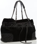 Luxury Accessories:Bags, Chanel Black Pony Hair & Quilted Lambskin Leather DrawstringTote Bag . ...