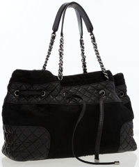 Chanel Black Pony Hair & Quilted Lambskin Leather Drawstring Tote Bag