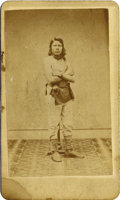 Photography:CDVs, CARTE DE VISITE OF PAWNEE BRAVE. A young Pawnee brave poses bare-chested in this CDV produced by Caton's Gallery of ... (Total: 1 Item)