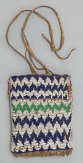 American Indian Art:Beadwork and Quillwork, AN APACHE BEADED HIDE POUCH...