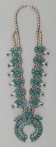 American Indian Art:Jewelry and Silverwork, A NAVAJO SILVER AND TURQUOISE SQUASH BLOSSOM NECKLACE. W. Begay. c.1985...
