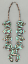 American Indian Art:Jewelry and Silverwork, A NAVAJO SILVER AND TURQUOISE SQUASH BLOSSOM NECKLACE. c. 1970. ...