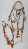 American Indian Art:Pipes, Tools, and Weapons, A PLAINS BRAIDED HORSEHAIR BRIDLE AND REINS. c. 1900...