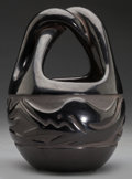 American Indian Art:Pottery, A SANTA CLARA CARVED BLACKWARE BASKET. Legoria Tafoya...