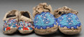 American Indian Art:Beadwork and Quillwork, TWO PAIRS OF SIOUX CHILD'S BEADED HIDE MOCCASINS... (Total: 4 )