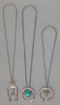American Indian Art:Jewelry and Silverwork, THREE NAVAJO SILVER CAST NAJA NECKLACES. ... (Total: 3 )