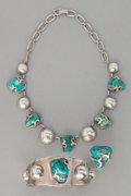 American Indian Art:Jewelry and Silverwork, A MEXICAN SILVER AND TURQUOISE JEWELRY SUITE... (Total: 3 Items)