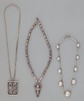American Indian Art:Jewelry and Silverwork, THREE MISCELLANEOUS SILVER NECKLACES... (Total: 3 )