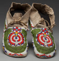 American Indian Art:Beadwork and Quillwork, A PAIR OF CHEYENNE BEADED HIDE MOCCASINS. ... (Total: 2 Items)
