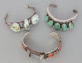 American Indian Art:Jewelry and Silverwork, THREE NAVAJO SILVER AND STONE BRACELETS. ... (Total: 3 Items)