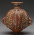 Pre-Columbian:Ceramics, AN INCA POLYCHROME CANTEEN. Height: 6 ½ inches. ...