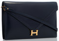 Luxury Accessories:Bags, Hermes Blue Marine Calf Box Leather Lydie Clutch Bag with GoldHardware. ...