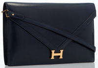 Hermes Blue Marine Calf Box Leather Lydie Clutch Bag with Gold Hardware