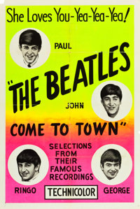 "The Beatles Come to Town (Pathé, 1963). One Sheet (28"" X 42"") Day Glo Silk Screen Style"