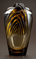 Art Glass:Lalique, LALIQUE CLEAR AND TOPAZ GLASS MARRAKECH VASE. Post 1945.Engraved Lalique, France. Ht. 12-1/2 in.. ...