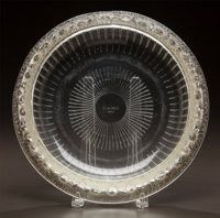 R. LALIQUE CLEAR AND FROSTED GLASS MARGUERITES COUPE Circa 1941. Stenciled R. LAL