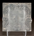 Glass, LALIQUE CLEAR AND FROSTED GLASS MASQUE DE FEMME PLAQUE. Post 1945.. L. 12-1/2 in.. ...