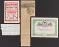 Baseball Collectibles:Others, 1872-1912 Boston Americans Stock Certificates & Scorecard Lotof 4....