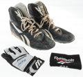 Baseball Collectibles:Others, 1993 Frank Thomas Game Worn Signed Cleats, Batting Gloves &Wristband. ...