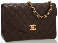 Chanel Brown Quilted Lambskin Leather Flap Bag with Gold Hardware