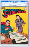 Golden Age (1938-1955):Superhero, Superman #27 (DC, 1944) CGC FN/VF 7.0 White pages....