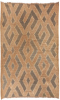 Tribal Art, Royal Bushoong Kuba, (Democratic Republic of Congo). Mat (Natte),Mikomingom design. First half 20th century. Rattan, dyed f...