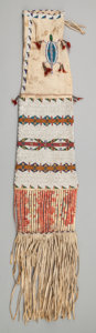 American Indian Art:Beadwork and Quillwork, A SIOUX PICTORIAL BEADED HIDE TOBACCO BAG. c. 1890...