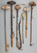 American Indian Art:Pipes, Tools, and Weapons, SIX PLAINS STONE HEAD CLUBS... (Total: 7 Items)