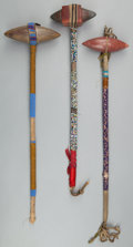 American Indian Art:Pipes, Tools, and Weapons, THREE SIOUX BEADED STONEHEAD CLUBS. c. 1890... (Total: 3 Items)