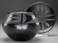 Other, TWO SAN ILDEFONSO BLACKWARE ITEMS. Maria Martinez. c. 1950... (Total: 2 Items)
