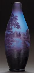 Art Glass:Other , D'ARGENTAL OVERLAY GLASS LANDSCAPE VASE. Circa 1920. Cameod'Arengtal. Ht. 9-3/4 in.. ...