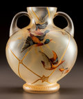 Art Glass:Other , BOHEMIAN GLASS MALLARD TWO-HANDLED VASE. Circa 1900. Enameled1033/2, (effaced mark). Ht. 8-1/4 in.. ...
