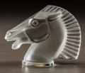 Glass, R. LALIQUE CLEAR AND FROSTED GLASS LONGCHAMPS MASCOT. Circa 1929. Molded R. LALIQUE, FRANCE. M p. 502, No. 115...