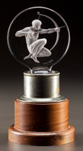 Glass, R. LALIQUE CLEAR AND FROSTED ARCHER MASCOT AND STAND. Circa 1926. Molded R. LALIQUE, FRANCE. M p. 498, No. 112...