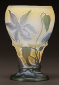 Art Glass:Galle, GALLÉ OVERLAY GLASS FLORAL FOOTED VASE. Circa 1900. Cameo Gallé. Ht. 6-7/8 in.. ...