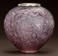 Art Glass:Lalique, R. LALIQUE AMETHYST GLASS GUI VASE WITH SILVER-PLATED RIM.Circa 1920. Molded R. LALIQUE. M p. 427, No. 948....