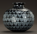 Art Glass:Lalique, R. LALIQUE BLACK GLASS GRENADE VASE WITH WHITE PATINA. Circa1930. Engraved R. Lalique, France. M p. 448, ...