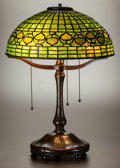 Art Glass:Tiffany , TIFFANY STUDIOS LEADED GLASS AND BRONZE VINE BORDER TABLELAMP. Circa 1915. Stamped TIFFANY STUDIOS, NEW YORK, 9... (Total: 3Items)