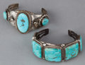 American Indian Art:Jewelry and Silverwork, TWO NAVAJO SILVER AND TURQUOISE BRACELETS. c. 1975. ... (Total: 2Items)