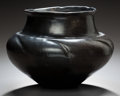American Indian Art:Pottery, A SANTA CLARA/SAN ILDEFONSO BLACKWARE JAR . c. 1920...