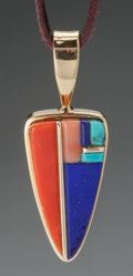 American Indian Art:Jewelry and Silverwork, A HOPI GOLD AND STONE PENDANT. Verma Nequatewa and SherianHonhongva. c. 1990...