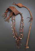 American Indian Art:Pipes, Tools, and Weapons, TWO CREE PAINTED HIDE MEDICINE NECKLACES AND A SLUNG SHOT CLUB. c. 1900... (Total: 3 Items)