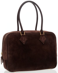 Hermes 28cm Chocolate Veau Doblis Suede Plume Bag with Gold Hardware