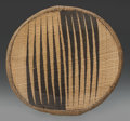 Tribal Art, Tutsi, (Rwanda). Presentation tray. Plant fiber, natural dye.Diameter: 5 ½ inches. ...