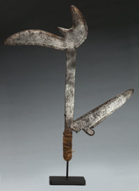 Azande, (Democratic Republic of Congo) Throwing knife First half 20th century Forged iron, leather, fiber