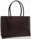 Luxury Accessories:Bags, Tod's Burgundy Leather Tote Bag. ...