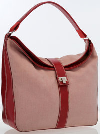 Lambertson Truex Red & White Canvas and Red Leather Hobo Bag
